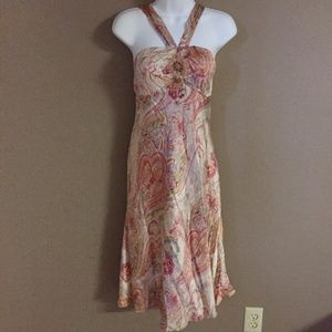 INC silk Halter paisley beaded dress